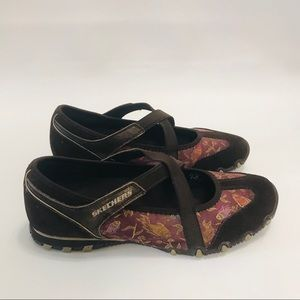 Skechers Mary Janes Loafers Brown Suede Pink 7